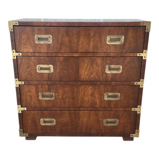 Henredon Campaign Style Vintage Walnut 4 Drawer Chest