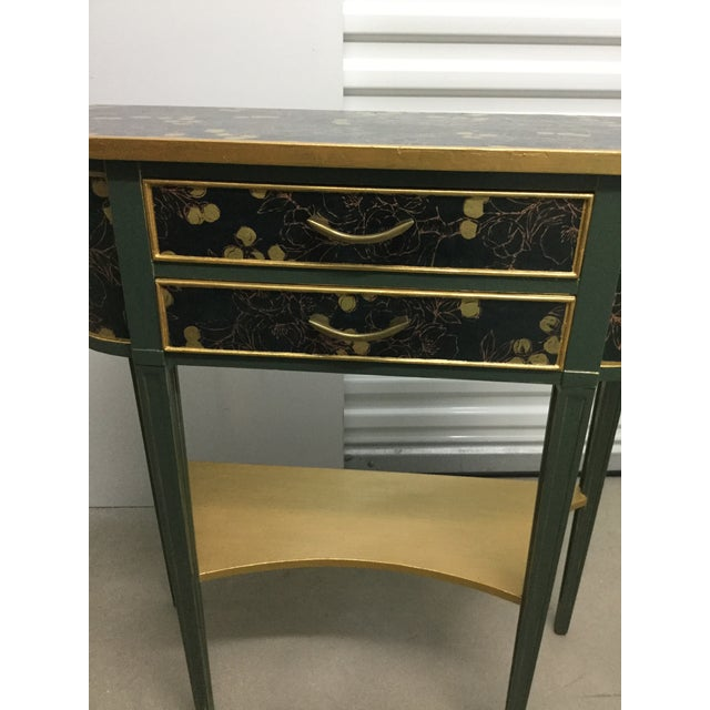 2010s Charming Hekman Sidetable Refinished With Handmade Paper For Sale - Image 5 of 9