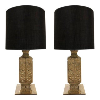 Pair of Polished Bronze Asian Lamps By James Mont For Sale