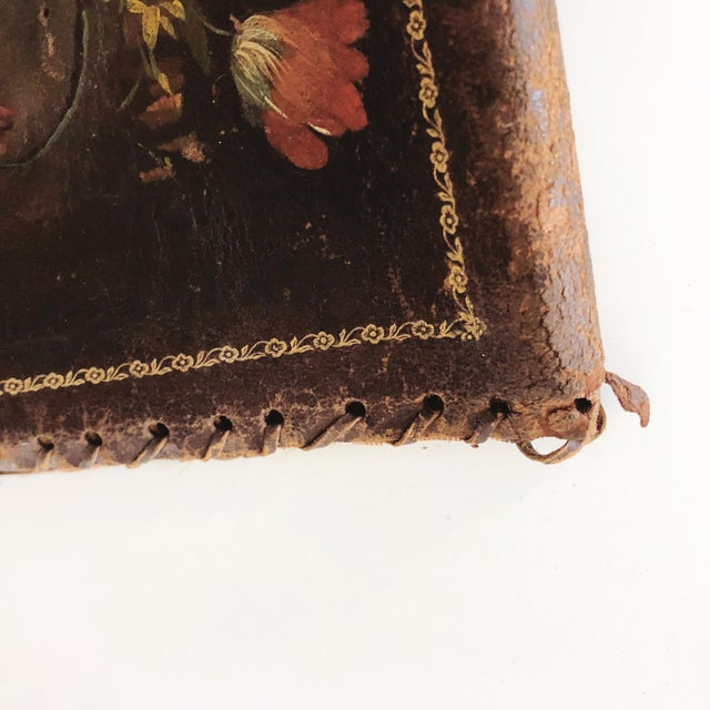 Antique Hand-Painted Leather Book Jacket For Sale - Image 4 of 8