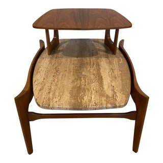 Gordon's Fine Furniture Walnut and Travertine Tiered End Table For Sale