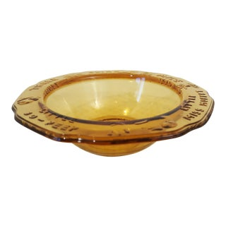 Amber Glass Child Nursery Rhythm Themed Bowl