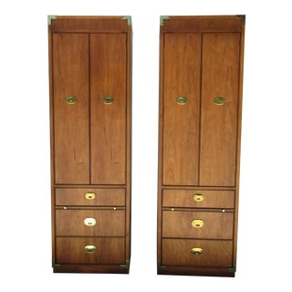 Thomasville Campaign Style Pier Cabinets -A Pair