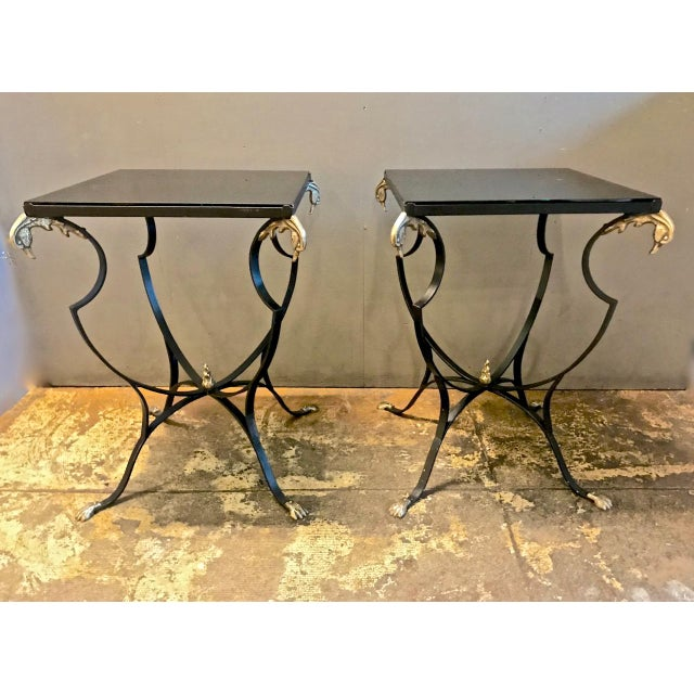 Pair Art Deco Forged Iron and Brass Side Tables For Sale - Image 9 of 10