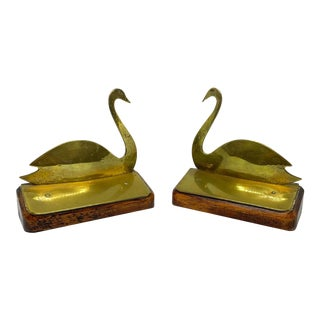 Late 19th Century English Brass Swan Form Bookends - a Pair For Sale