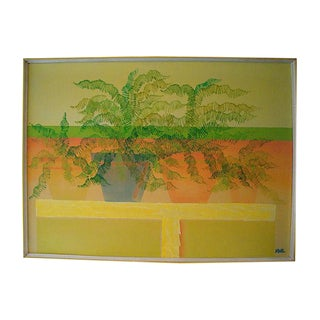 "Extra Large 42"" Potted Ferns Painting, Harris Strong Gallery For Sale"