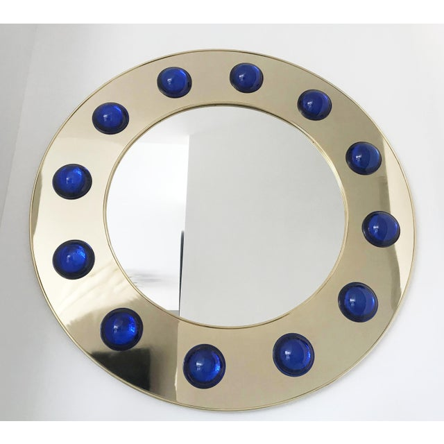 Blue Fabio Ltd Marina Round Mirror For Sale - Image 8 of 8