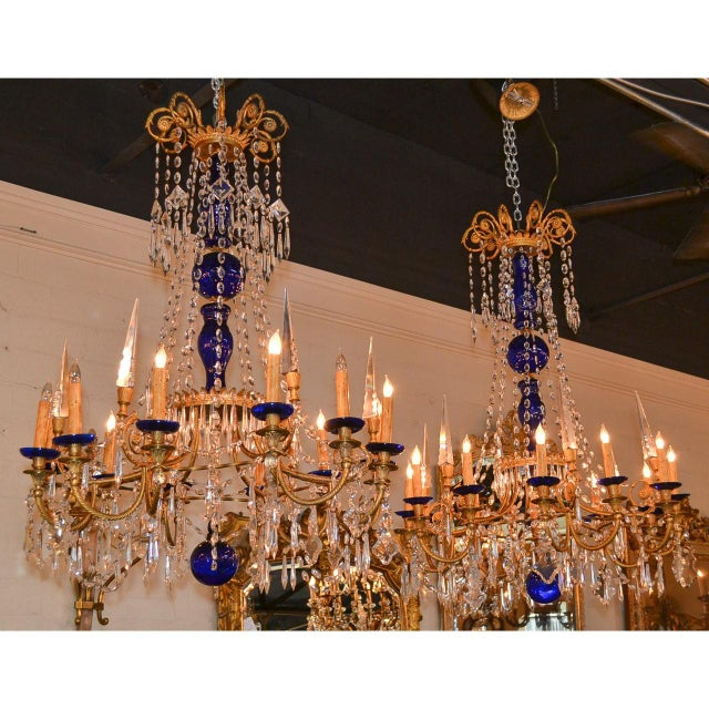 19th Century Pair of Russian Bronze, Crystal, and Cobalt Chandeliers For Sale In Dallas - Image 6 of 9