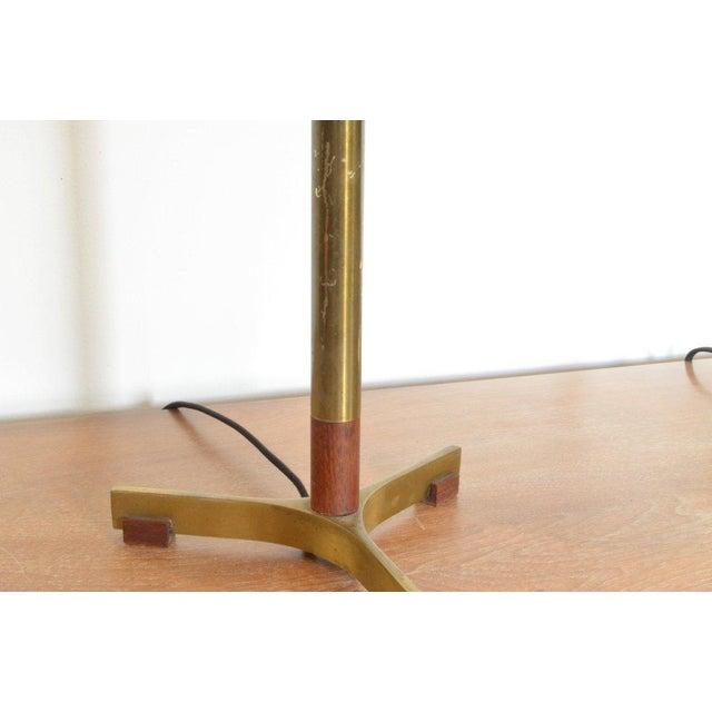 1960s Jo Hammerborg President Brass and Teak Table Lamp For Sale - Image 5 of 10