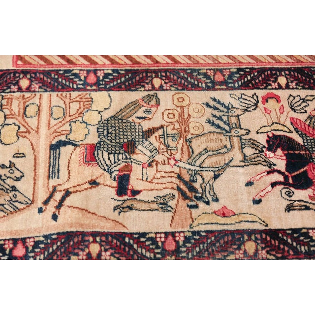 Empire Pictorial Antique Persian Kerman Rug - 4′8″ × 7′6″ For Sale - Image 3 of 13
