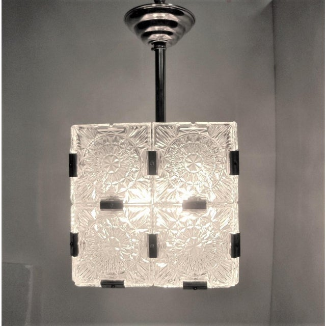 1960s Original Cut Glass With Nickeled Clips Box Cube Pendant Lights - Set of 3 For Sale - Image 5 of 12