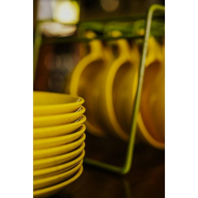 1960s Holiday by Kenro Yellow Cups and Saucers - Set of 10 For Sale - Image 5 of 10