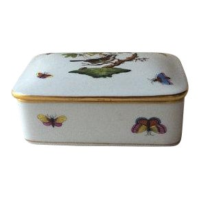 Vintage Porcelain Hand Painted Covered Box by Herend