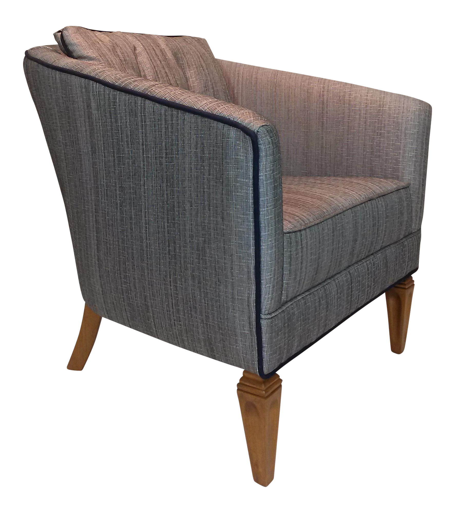 Satin Gray Tweed Upholstered Barrel Chair   Image 1 Of 7