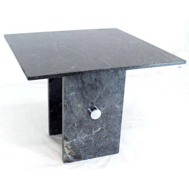 Black Square Marble Top Small Conference Dining Game Cafe Table For Sale In New York - Image 6 of 10