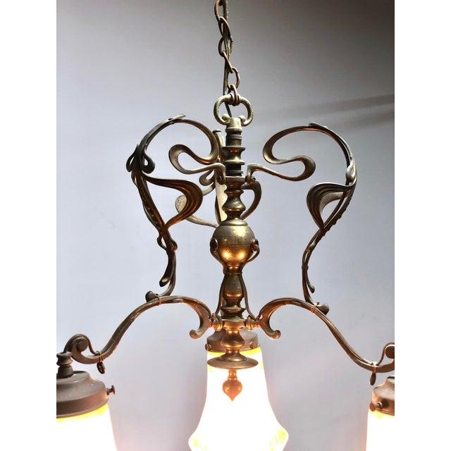 Antique Art Nouveau Brass 3-Shade Chandelier For Sale - Image 4 of 13