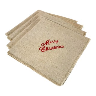 Merry Christmas Embroidered Dinner Napkins - Set of 4 For Sale