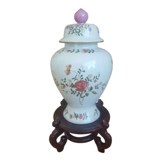Vintage Chinoiserie Porcelain Floral Ginger Jar With Oriental Stand
