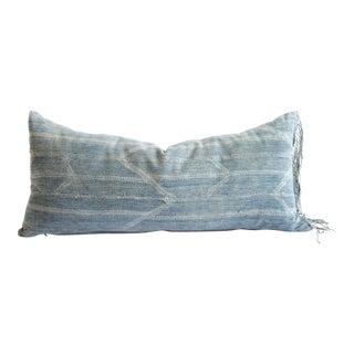 Custom Made Faded Indigo Tribal Lumbar Pillows With Original Fringe Right For Sale