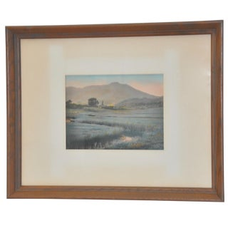 Vintage Hand Colored Mountain and Farm Fields Landscape C.1930s For Sale