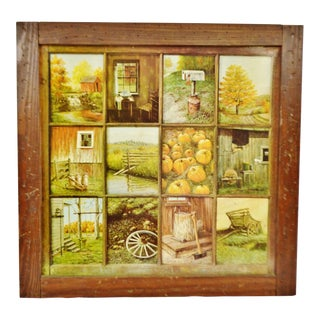 Vintage Home Interior HOMCO 12 Panel Rustic Window Pane Picture Prints by B Mitchell