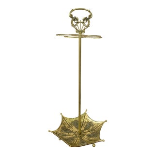 Vintage 1960s Chinoiserie Solid Brass Umbrella Stand For Sale