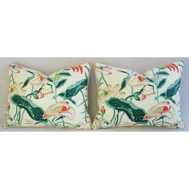 Egrets & Lotus Blossom Pillows - a Pair - Image 6 of 11