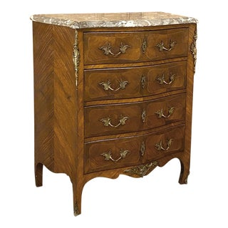 19th Century French Louis XV Marquetry Marble Top Serpentine Commode For Sale
