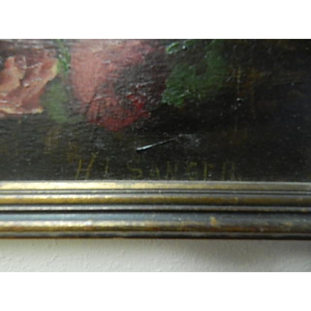 This is an old painting of Flowers in a green vase by H L Sanger. It is signed in the lower right corner of the painting....