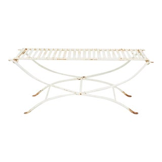 Vintage 1960s Iron Two-Seat Folding Garden Bench For Sale