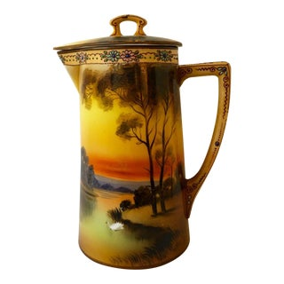 Antique Nippon Large Scenic Covered Pitcher For Sale