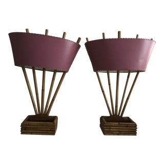 Vintage Boho Chic Bamboo Lamps - a Pair For Sale