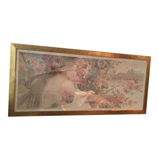 Art Nouveau 'Beauty & Flowers' Poster For Sale