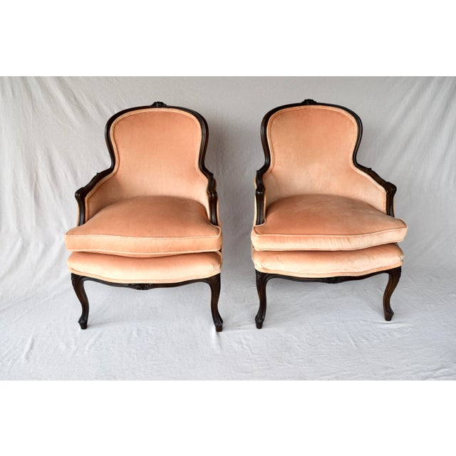 French Pair of Louis XV Carved Walnut Bergere Chairs For Sale - Image 3 of 12