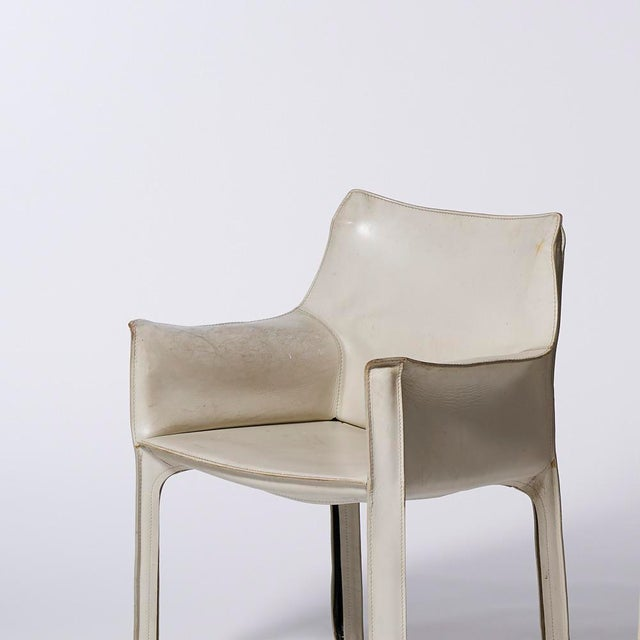 Mario Bellini Mario Bellini for Cassina White Leather Cab Dining Arm Chairs - a Pairing For Sale - Image 4 of 8
