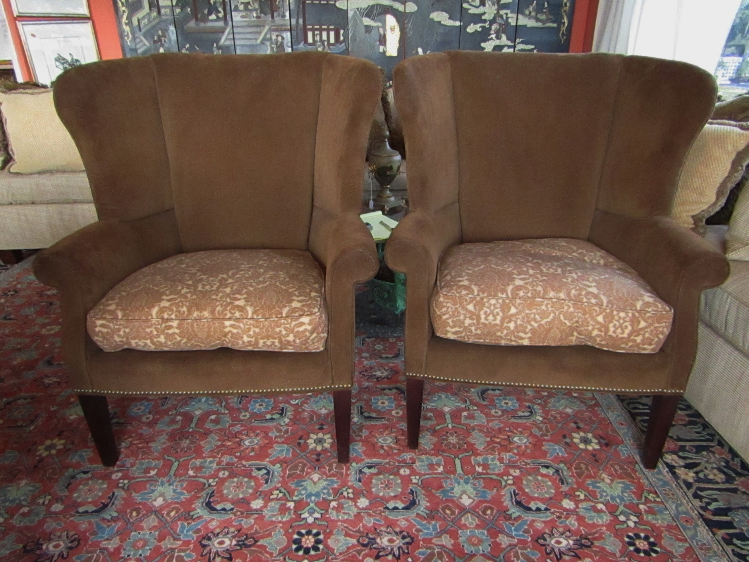 Superieur Handsome Pair Of Wingback Chairs By Taylor King With Custom Upholstery In  Ralph Lauren Fabrics.