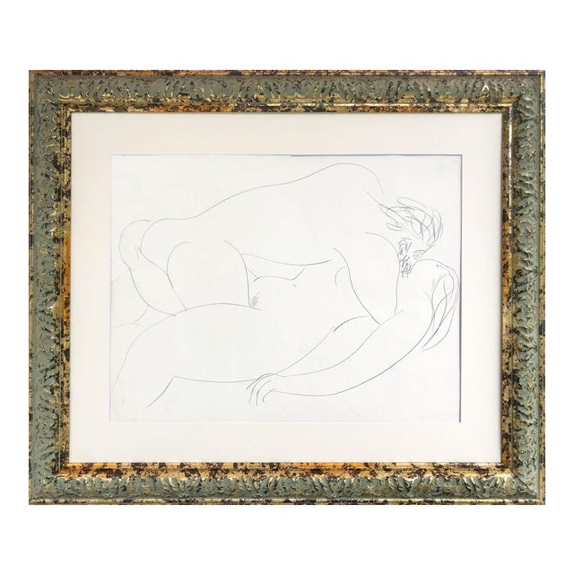 Vintage French Abstract Erotic Nude Pencil Drawing Paris 1951 For Sale