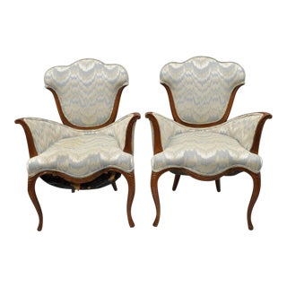 Vintage Hollywood Regency French Armchairs - A Pair For Sale