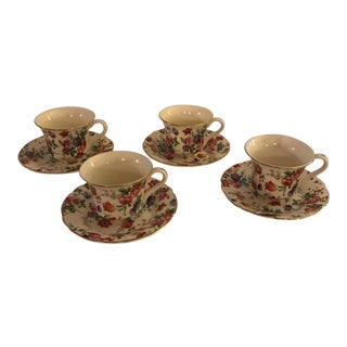 Cheery Chintz Espresso Cups & Saucers - Set of 8 For Sale