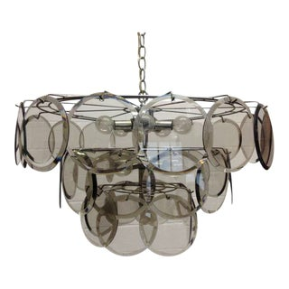 Italian, Gino Vistosi 36 Disc Chandelier for Murano For Sale