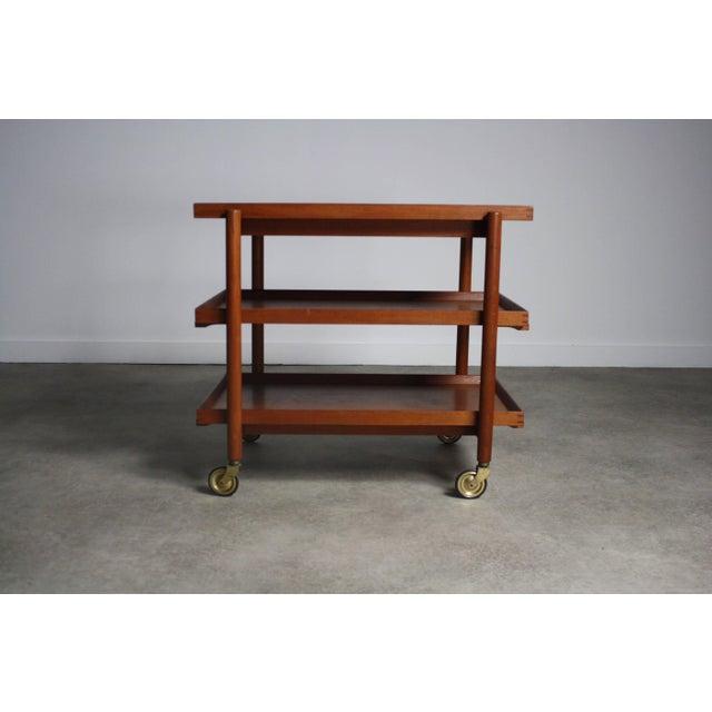 Poul Hundevad Poul Hundevad Danish Modern Expandable Bar Cart For Sale - Image 4 of 5