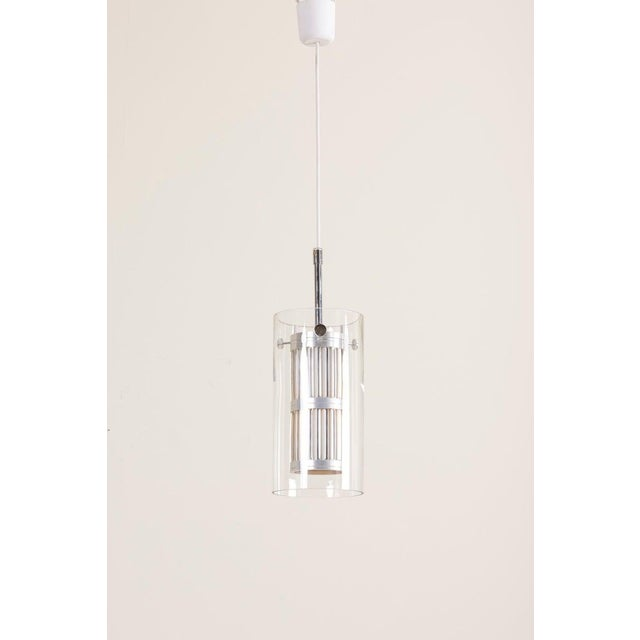 Pendant lamp with glass and aluminum in manner of Hans Agne Jakobsson. 1 x E27 bulb. To be on the safe side, the lamp...