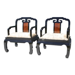 Vintage Black Lacquered and Burlwood Chinoiserie Ming Chairs - a Pair For Sale