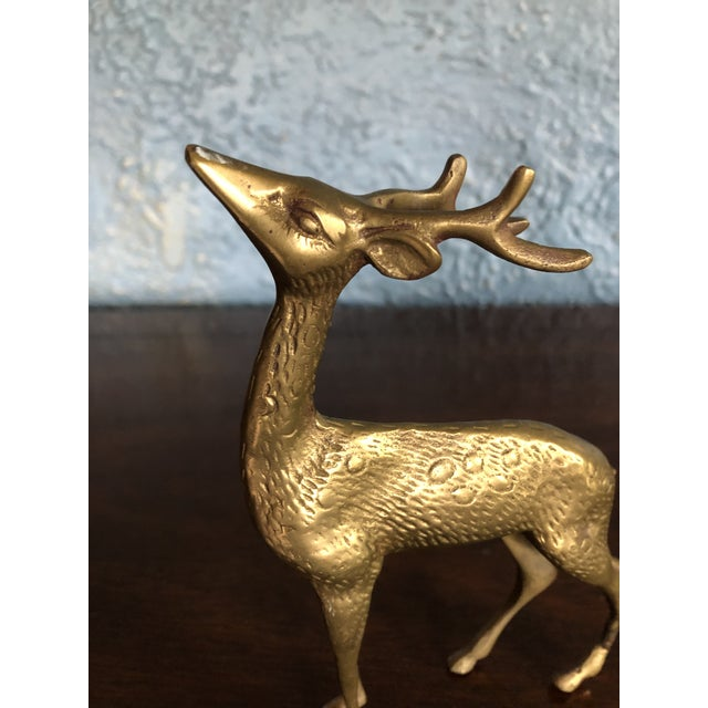 Traditional Tall Brass Reindeer Deer Figurine For Sale - Image 3 of 4