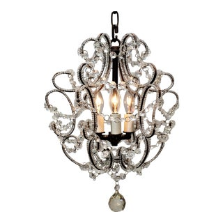 Three Light Beaded Chandelier, Circa:1950, Italy For Sale