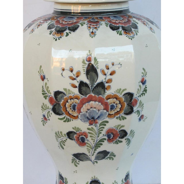 Ceramic Pair of Delft Hand-Painted Covered Jars Signed by the Artist P. Verhoeve For Sale - Image 7 of 10
