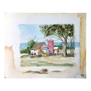 Barn Farm Silo Watercolor Painting For Sale
