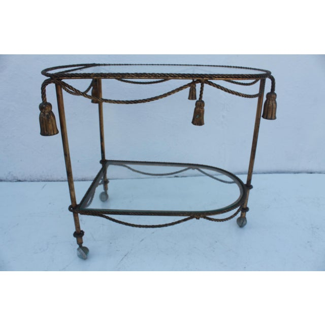 Italian Hollywood Regency Gilt Metal Bar Cart - Image 4 of 9