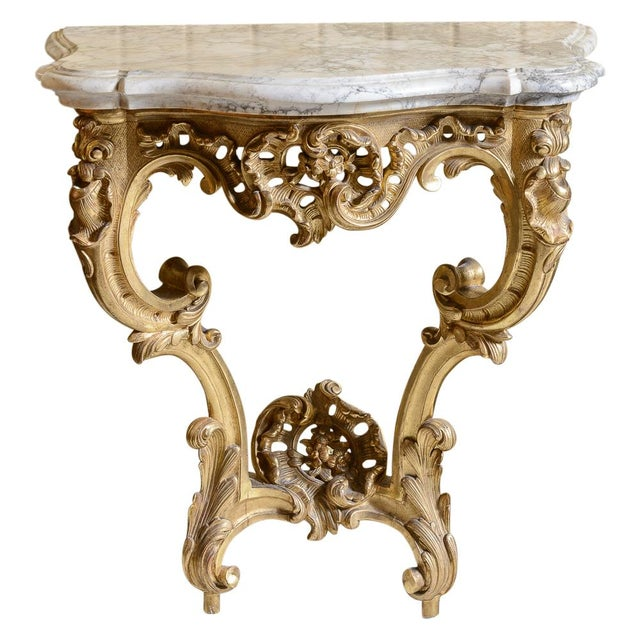 French, Gilt Console Table For Sale - Image 9 of 9