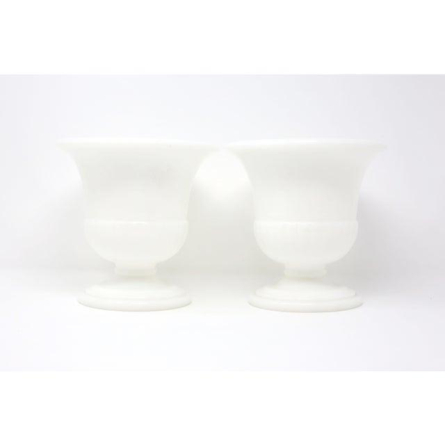 Glass Vintage White Milk Glass Embossed Fleur De Lis Urns - a Pair For Sale - Image 7 of 10